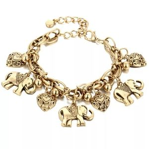Vintage Bohemian Gold Color Elephant Heart Charms